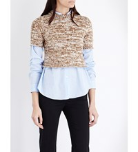 Pringle Of Scotland Waffle Knit Cashmere Cropped Top Vanilla Camel Dark Clay