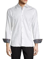 Bertigo Floral Cotton Button Down Shirt White