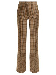 Rochas Checked Wool Blend Flared Trousers Brown Multi