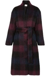 Vince Belted Checked Brushed Wool Blend Coat Plum