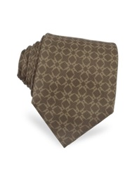 Moreschi Printed Silk Tie Brown