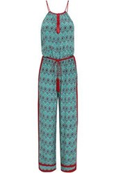 Talitha Satin Trimmed Printed Silk Crepe De Chine Jumpsuit Jade