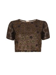 Yumi Gold Floral Print Crop Top Black