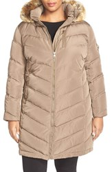 Plus Size Women's Calvin Klein Down And Feather Fill Coat With Faux Fur Truffle