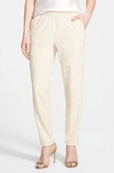 Lafayette 148 New York Genuine Suede Track Pants With Piping Beige