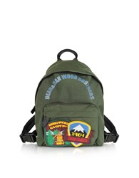 Dsquared2 Handbags Military Green Nylon Small Backpack W Patches