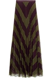 Mary Katrantzou Giselle Two Tone Pleated Silk Tulle Maxi Skirt Green