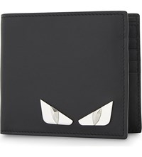 Fendi Monster Eyes Leather Billfold Wallet Black Silver Metal