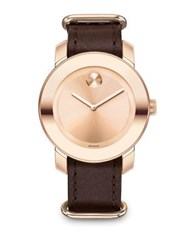 Movado Bold Rose Goldtone Ip Stainless Steel And Leather Strap Watch Rose Gold Brown