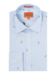 Simon Carter Feather Jacquard Shirt Blue