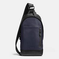 Coach Manhattan Sling Pack In Sport Calf Leather Black Antique Nickel Midnight B