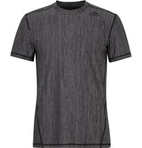 Adidas Sport Training Striped Climalite T Shirt Gray