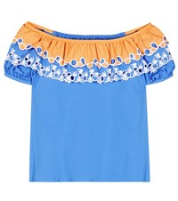 Peter Pilotto Embroidered Off The Shoulder Cotton Top Blue