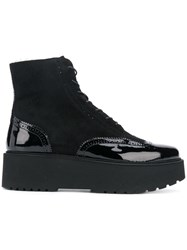 Hogan Lace Up Platform Boots Black