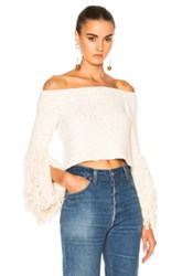 Rosetta Getty Crocheted Fringe Off The Shoulder Top In White
