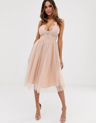 Rare London Cami Strap Dress With Cup Detail And Tulle Skirt In Soft Pink