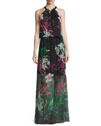 Elie Tahari Cayla Halter Neck Floral Print Maxi Dress Black