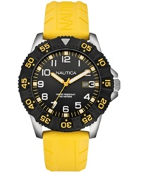Nautica Men's Yellow Rubber Strap Watch 45Mm N12642g