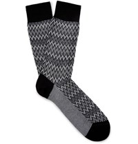 Missoni Patterned Cotton Blend Socks Black