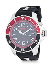 Kyboe Stainless Steel And Silicone Strap Watch Black Red