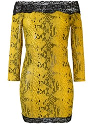 Faith Connexion Off The Shoulder Snake Print Dress Women Lyocell Polyimide Xs Yellow Orange