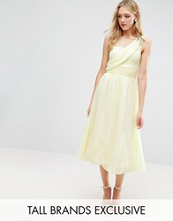 Little Mistress Tall One Shoulder Embellished Full Prom Midi Skater Dress Yellow