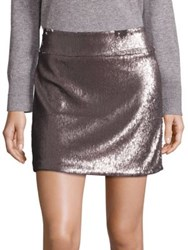 Halston Sequin Mini Skirt Antique Silver