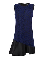 Sportmax Lace Overlay Frill Dress Blue