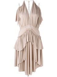 Philosophy Di Lorenzo Serafini Tiered Ruffled Dress Women Viscose 42 Pink Purple