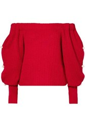 Hellessy Vessel Off The Shoulder Embellished Cotton Sweater Red