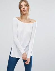 Asos Off Shoulder Slouchy Top With Side Split White