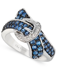 Le Vian Ceylon Sapphire 1 Ct. T.W. And Diamond Accent Bypass Buckle Ring In 14K White Gold Blue