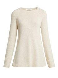 The Row Sabel Fluted Cashmere Blend Sweater Ivory