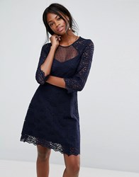 Oasis Lace Sleeve Skater Dress Blue