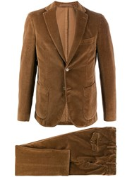 Eleventy Textured Two Piece Suit Brown