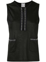 Chanel Vintage Sports Line Sleeveless Tops Black