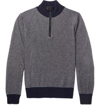 Berluti Slim Fit Leather Trimmed Cashmere Half Zip Sweater Navy
