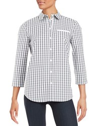 Lafayette 148 New York Checkered Blouse Rock