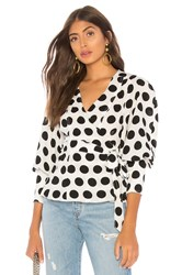 C Meo Collective Unending Top In Ivory Spot Black And White