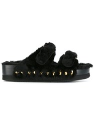 Suecomma Bonnie Gold Tone Studded Sandals Black