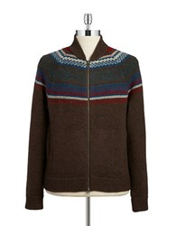 Brooks Brothers Patterned Wool Blend Cardigan Brown Multi