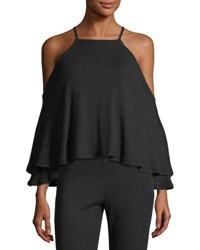 Rachel Pally Marvin Luxe Rib Knit Cold Shoulder Top Black