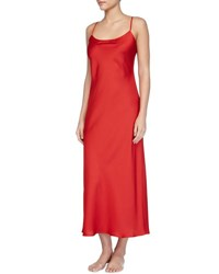 Natori Dynasty Solid Long Gown Red Rouge