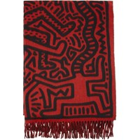 Etudes Studio Red And Black Keith Haring Edition Magnolia All Over Print Scarf