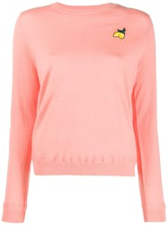 Chinti And Parker Lemon Embroidered Sweater Pink