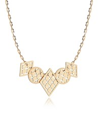 Rebecca Melrose Yellow Gold Over Bronze Necklace W Five Geometric Charms Golden Yellow