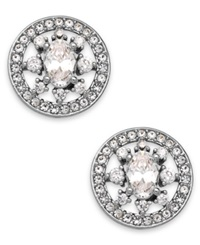 Eliot Danori Silver Tone Crystal Round Stud Earrings