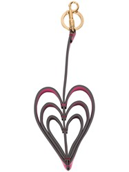 Anya Hindmarch Hearts Keyring Leather Pink Purple