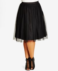 City Chic Trendy Plus Size Pleated A Line Skirt Black