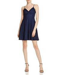 Aqua Lace V Neck Fit And Flare Dress 100 Exclusive Navy